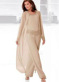 [158.99] Alluring Pant Suits Chiffon Scoop Neckline Full-length Mother Of The Bride Dresses With Beadings - laurenbridal.com