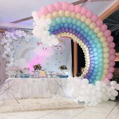 No photo description available. Unicorn Themed Birthday Party, Girl Birthday Themes, Rainbow Birthday Party, Baby Girl Birthday, Birthday Balloons, Unicorn Party, First Birthday Parties, Girl Baby Shower Decorations, Balloon Decorations