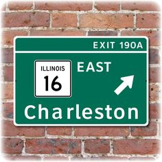 "Eastern Illinois University I-57 Exit Sign (18"" x 12""). $25.00, via Etsy."