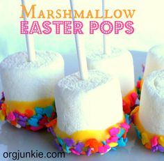 Marshmallow Easter Pops via Echoes of Laughter & Organizing Junkies Really easy,  fun snack for kids to make.