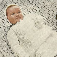 Mothers Pet Baby Layette including - Carrying Coat, Matinee Jacket, Frock, Bonnet, Bootees, Mittens and Shawl   Size - Birth to 6 months & 6 to 12 months Yarn - 3ply / Light Fingering Needles - #10 / 3.25mm, & #12 / 2.75mm  This is for a digital download upon payment  Happy Knitting!!  Design delivery All designs are available for instant download! After the payment you will receive two emails from Etsy: one confirming your purchase and the other letting you know that y...