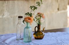 Rustic reclaimed bottles as table accents. Vineyard cocktail tables with lace runners @ a rustic horse ranch wedding. Tent Wedding, Wedding Rustic, Farm Wedding, Wedding Reception, Lace Runner, Horse Ranch, Ranch Style, Cocktail Tables, Receptions
