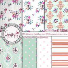 Flower digital pape with flowers digital paper by CpandoShop