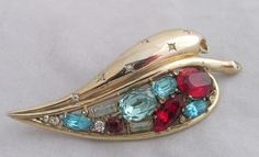 Vintage Sterling Silver & GW Coro Craft Leaf w/Red White&Blue Stones Pin Brooch
