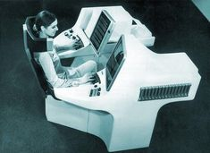 Futuristic office composed of a typewriter, television screens, a video recorder and a photocopier, Hanover in Germany, April 25, 1969