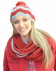 Bernat® Satin Ripple Hat & Cowl  #crochet #pattern