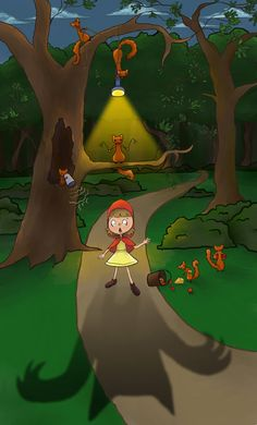 Little red riding hood getting tricked by squirrles
