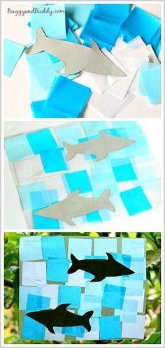 Shark Craft for Kids: Make a shark suncatcher using tissue paper and a FREE shark template. Perfect for an ocean unit or for shark week! ~ http://BuggyandBuddy.com