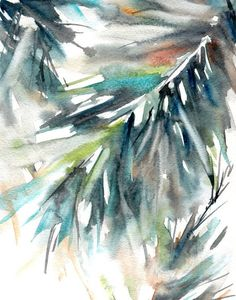 Green Watercolor Print, Abstract Watercolor Painting Art Print, Palm Leaves Painting