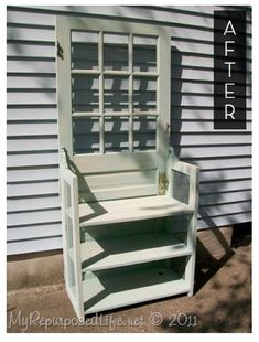 Turn a door into a side table! [useful as garden potholder and stand; or in craft room for storage - and add corkboard behind frames for pinning bunting, inspirational pics. etc. #furniture project #DIY