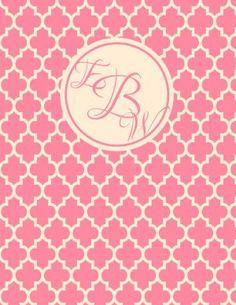 Pink monogram binder cover