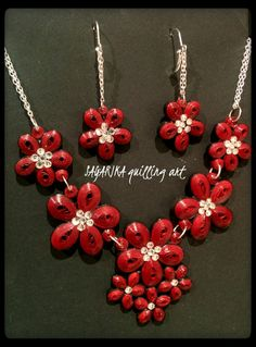 Quilling red flower necklace