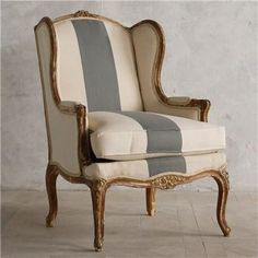 Seating - Eloquence One of a Kind Vintage Bergeres Distressed Paint I Layla Grayce - vintage bergeres chair, bergeres chair, bergeres chair with white upholstery and blue stripe, Shabby Chic Interiors, Shabby Chic Furniture, Shabby Chic Decor, Vintage Furniture, Sofa Design, Furniture Design, Reading Nook Chair, Georgian Furniture, French Sofa