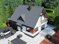 Projekt domu Lolek N 2G 93,52 m2 - koszt budowy 186 tys. zł - EXTRADOM Home Building Design, Building A House, House Design, Modern Villa Design, 100 M2, Facade House, Design Case, Home Interior Design, House Plans
