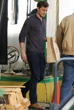 Jamie Dornan films the famous hardware scene for Fifty Shades Of Grey in Vancouver, Canada on Wednesday