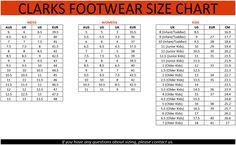 Shoe Size Chart Slipper Sandals Clarks Workouts Usa Fashion Shoes