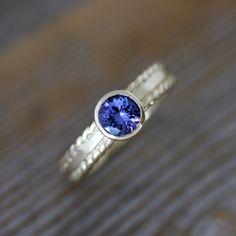 periwinkle+gemstones | Tanzanite Yellow Gold Gemstone Ring, Periwinkle Gemstone , 14k ...
