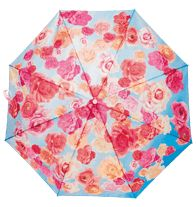 "Breast Cancer Floral Print Umbrella Automatic push-button open with carry loop. 20½"" diam. canopy; 8"" L, closed. Includes storage sleeve. 100% polyester. Imported.   $3 of each umbrella sold will be donated to the Avon Breast Cancer Crusade.   Avon has raised more than $321 million for the Avon Breast Cancer Crusade through the sale of Avon Pink Ribbon products. Help support today!"