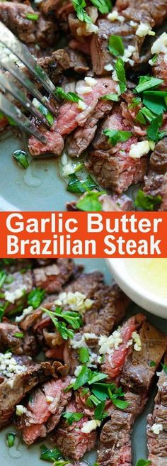 Garlic Butter Brazilian Steak – the juiciest and most tender steak with a golden garlic butter sauce. Takes 15 minutes and dinner is ready | rasamalaysia.com Beef Dishes, Food Dishes, Main Dishes, Comida Latina, Cooking Recipes, Healthy Recipes, Delicious Recipes, Easy Recipes, Vegetarian Recipes
