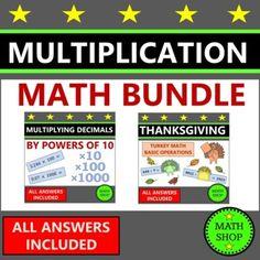Thanksgiving Math Worksheets Multiplication 6th Grade Math Bundle