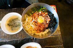 Octopus bibimbap korean food