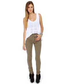 Rocking Pants! Found on Lulus.com!! Tripp NYC Striped Antique Black and Beige Skinny Jeans