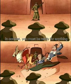 In combat, you must be ready for anything, funny, quote, text, comic, Aang, Katara, Sokka; Avatar: the Last Airbender