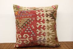 Anatolian pillow kilim cover 20 x 20 Decorative by kilimwarehouse, $62.00