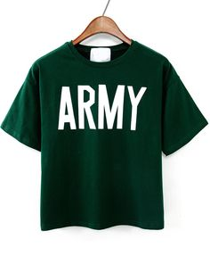 Green Short Sleeve ARMY Print T-Shirt 11.83