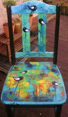 """Stuhl """"love birds"""" ingemalt"""