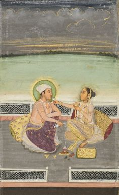 A couple taking refreshments on a terrace, India, Provincial Mughal, late 18th century  gouache with gold on paper, gold-flecked borders of blue, cream and marbled paper painting: 16.2 by 9.8cm. leaf: 33.3 by 23.5cm. Islamic Paintings, Old Paintings, Mughal Miniature Paintings, India Painting, Indian Prints, Mughal Empire, India Art, Smart Art, Indian Artist