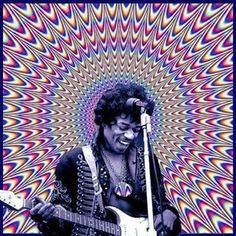 Jimi Hendrix- trippy optical illusion