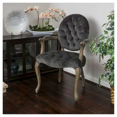 """Christopher Knight """"Marianne"""" velvet arm dining chair. Tufted, antique, French."""