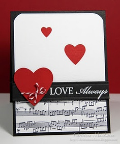 Valentine's Day Card - Music paper, diff size hearts (maybe the smaller 2 should be glitter hearts)