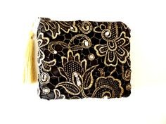 Black and Gold Lace Clutch Black Clutch Gold by SunlitSerenade