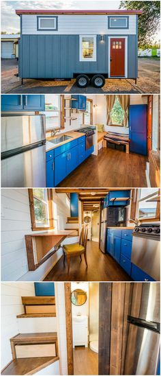 This amazing 20-foot tiny house on wheels is built by Mitchcraft Tiny Homes. The tiny house features L-shaped living room couch, which converts into a guest bed. A large coat closet is behind the front door.