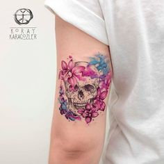 • BLOOM WHERE YOU ARE PLANTED • . . . #skull #tattoo #orchid #flowers #nature #naturelovers #bloom #watercolor #watercolortattoo #abstract #abstracttattoo #pink #blue #colors #koraykaragozler