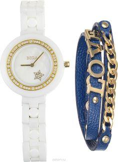 Часы наручные женские Bora, с браслетом, цвет: белый, золотой, синий. T-B-6712