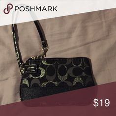 Coach wristlet (authentic) Black coach wristlet basically brand new large enough to hold an iPhone 6 (out of a case kind of tight fit) but perfect for ID, debit cards, and things like keys on a night out! Bags Clutches & Wristlets