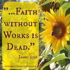 """But will you know, O vain man, that faith without works is dead?""  James 2:20 lifewhileworkingonme.wordpress.com"