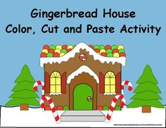Gingerbread House Cut and Paste Activity Cut And Color, One Color, Christmas Printable Activities, Gingerbread Man Activities, Cutting Activities, Paper Bag Puppets, Number Worksheets, Cut And Paste, Construction Paper