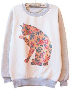 Grey Long Sleeve Vintage Cat Print Sweatshirt zł99.64