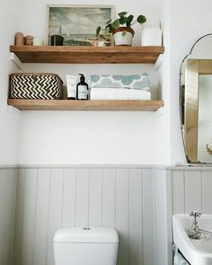 43 Apartment Bathroom Decor On a Budget Floating Shelves - Do you want to add or change the appearance of your apartment or house? Do you Decorate with a budget? Do you have a picture in the box and want show . Bathroom Shelves For Towels, Bathroom Wall Decor, Bathroom Interior, Bathroom Mirrors, Toilet Shelves, Bathroom Ideas Uk, Toilet Room Decor, Wooden Bathroom Shelves, Bathroom Candles