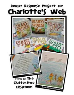 CHARLOTTE'S WEB reader response {Diary of a Pig & Diary of a Pig & Diary of a Spider}. This packet contains 2 covers: Diary of a Pig and Diary of a Spider, an About the Author page (in both primary and intermediate-ruled style) and writing/illustrating pages (also in both primary and intermediate-ruled styles).