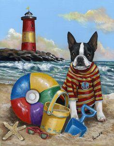 On the shore, beach, Boston Terrier, lighthouse