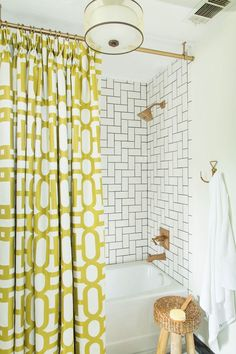 Delightful Ceiling Mounted Shower Curtain   This Was Custom Made. Donu0027t Know If She  Used A Liner Too.