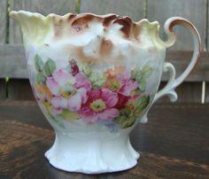 Vintage Antique Germany Floral Embossed Creamer & Sugar Set