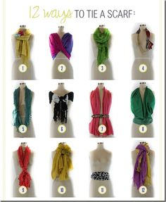 12 different ways to wear the same scarf... look different everyday of your trip, and still have plenty of room in your bag for souvenirs.