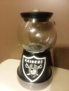 Oakland Raiders clay pot candy jar