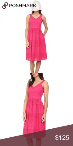 DONNA MORGAN v-neck eyelet dress full NWT Donna Morgan pink v-neck eyelet dress with set in waistband and full skirt. Women's size 4. Zip up back. One layer lining.  Measurements:  No modeling. Open to reasonable offers!  Bundle & save 10%! 💕 Donna Morgan Dresses Midi